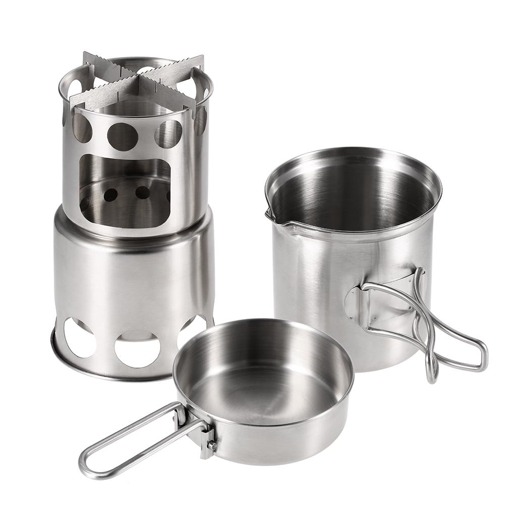 Outdoor Camping Cookware Set Wood Stove Cooking Pot Set Stainless Steel Tableware Folding Cookware For Backpacking Fishing New Camping & Hiking