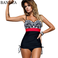 BANDEA New Sexy Plus Size Swimsuit Retro Patchwork Swimwear Women One Piece Bathing Suit Female Bandeau