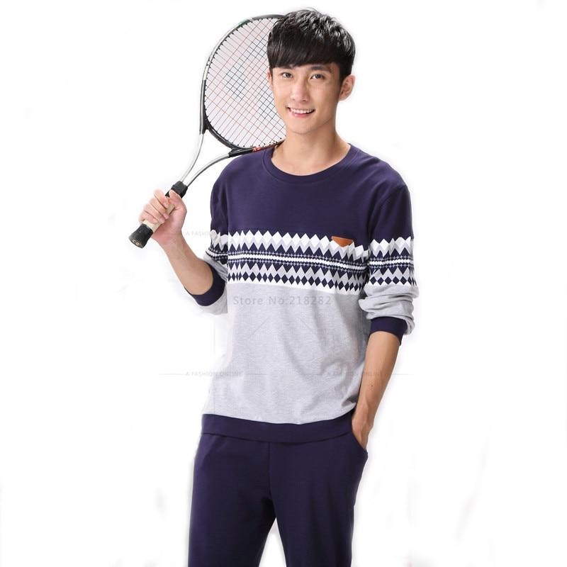 New Autumn Winter Men's Pajamas Long Sleeve Home Wear 100% Cotton Plaid Pyjamas Men SleepwearPajama Sets Plus Size 3XL Lounge