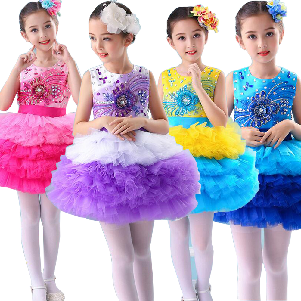 Girls dancewear dress Costumes Kids Ballroom Sequined Stage wear Dance Party Stage wear Wedding Fancy dancing tutu Dress Outfits