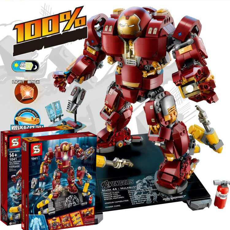 1530pcs Super Heroes Iron Man Hulk Buster: Ultron Edition Model Figures Building Blocks Compatible With Lego 76105 Free Shipping стоимость
