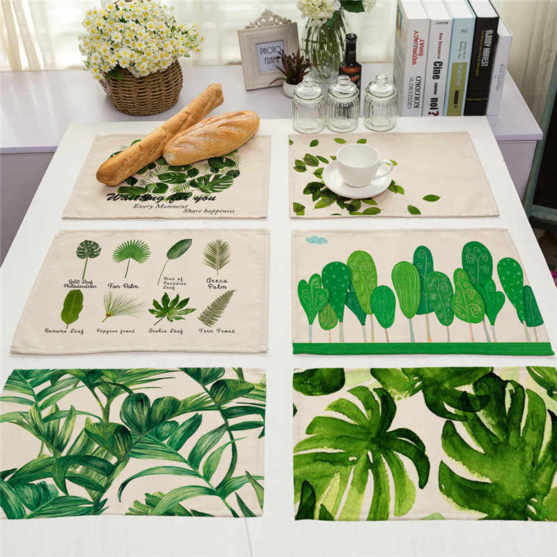 1Pcs Green Leaf Plant Pattern Kitchen Placemat Coaster Dining Table Mats Cotton Linen Pad Bowl Cup Mat 42*32cm Home Decor MP0001