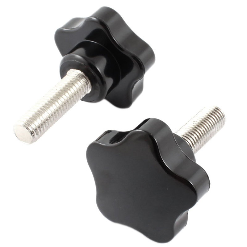 2 Pcs M12 x 40mm Thread Plastic Star Head Clamping Screw Knob Black m12 female thread metal plastic clamping star knob grip black silver tone