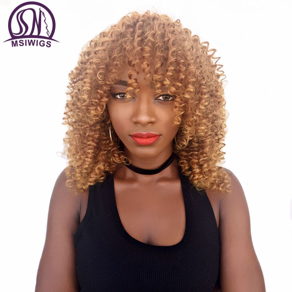 MSIWIGS Medium Length Afro Curly Synthetic Wigs for Black Women African American Natural Hair Brown Wig Cosplay Heat Resistant