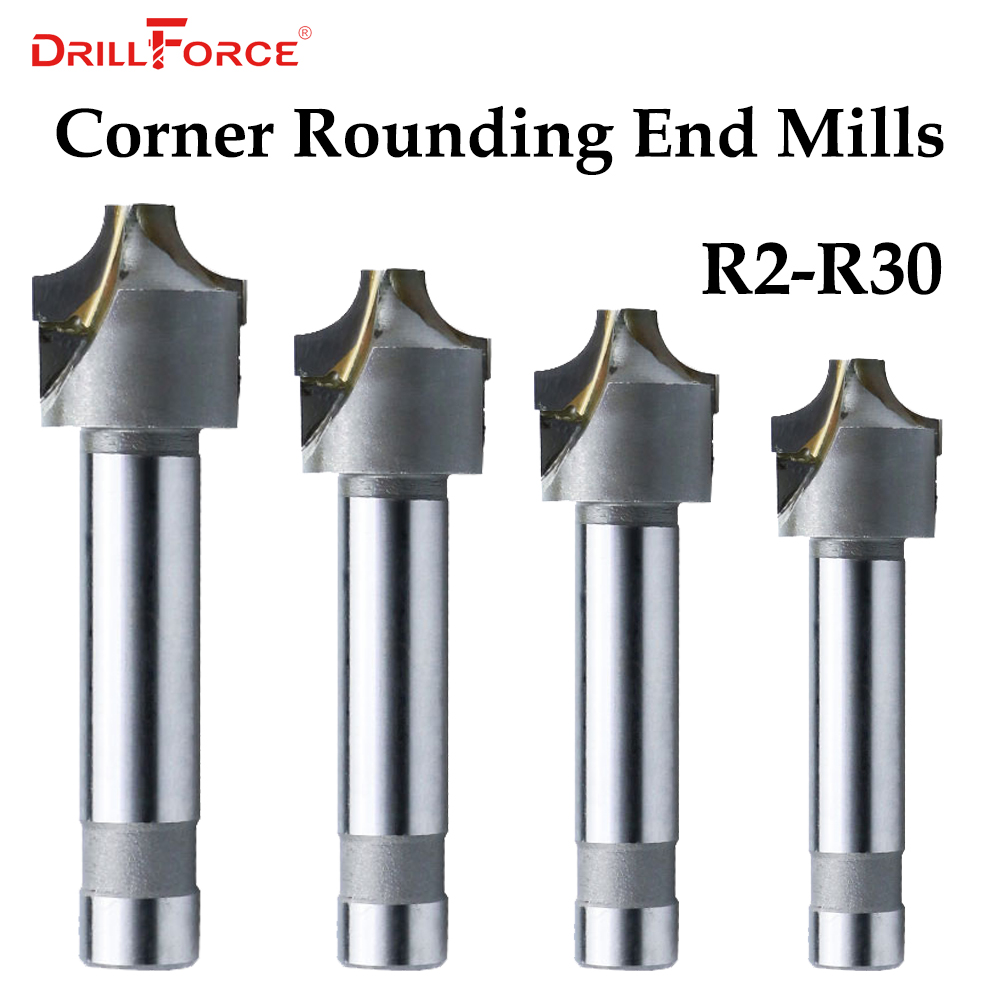 1PC 2/4Flutes R2-R30 Cemented Carbide Corner Rounding End Mills,Ball Nosed Concave Radius Milling Cutters (R2/R5/R8/R15/R25/R30)