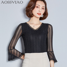 2019 Summer Women Lace Blouse Long Sleeve Fashion Blouses and Shirts Crochet Blusas Casual Female Clothing Plus Size Femme Tops plus size long sleeve lace spliced crochet blouse