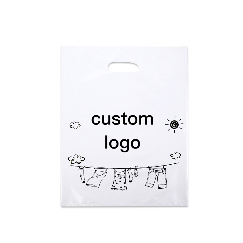 200 pcs Logo Personnalisé En Plastique Sacs À Provisions avec Poignée, en plastique bijoux poche Emballage Cadeau Transporteur Sacs poignée vêtements sacs