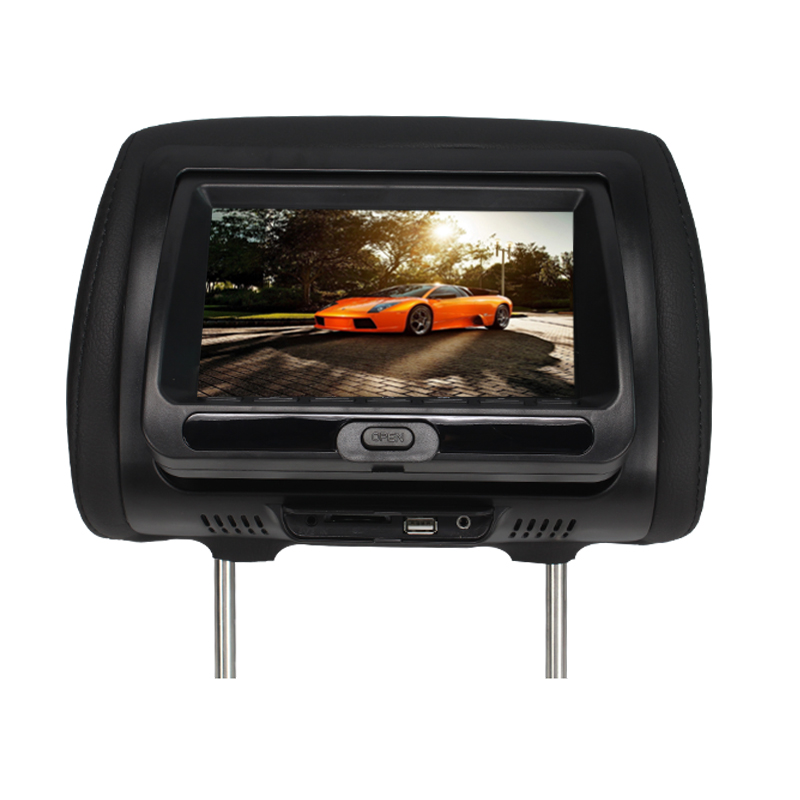 7 inch TFT LED Display Auto Pillow Monitor Touch Button AV USB SD DVD Game FM IR DC 12V Car Headrest DVD Player Black SH7828DVD car pillow zipper cover 2x 9 hd touch screen car headrest dvd player with 32 bit game usb sd ir fm transmitter no ir headphones