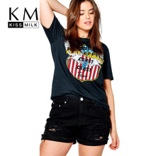 Kissmilk Plus Size Round Neck Floral Printed T-shirt Short Sleeve Casual Tops Basic Soft Loose Fit Big Size T-shirt все цены
