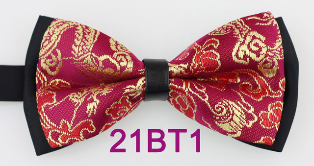 09cb18ffff78 Yibei Coachella Ties Florals Bow Tie New Arrival Double Layer Black Red  Butterfly With Gold Floral Woven Man Adjustable Bowties