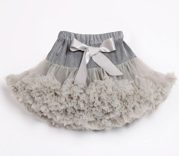 Детские Нижние юбки для девочек юбка-пачка Нижняя юбка для девочек девочки пачки, миниатюрные юбки шифоновая юбка воздушная юбка подростковая одежда для девочек - Цвет: Серебристый