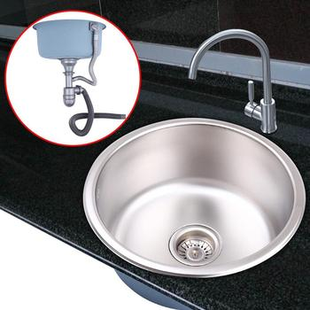 (Ship from AU) Stainless Steel Kitchen Sink Under/Topmount Laundry Single Round Bowl
