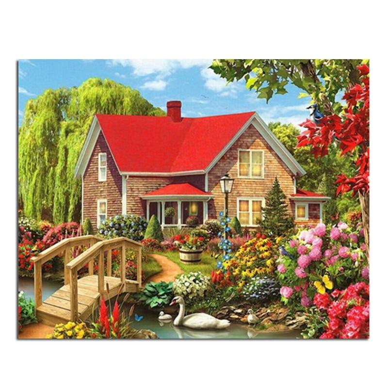 House Stream 25x20cm Nuevo 100% Área completa Highlight Diamond - Artes, artesanía y costura
