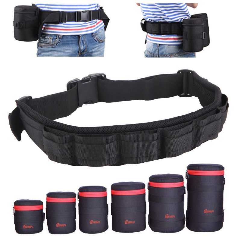Photo Adjustable Black Strap DSLR Padded Camera Waist Belt Holder W/ Nylon Functional Soft Padded Lens Bag Pouch Case