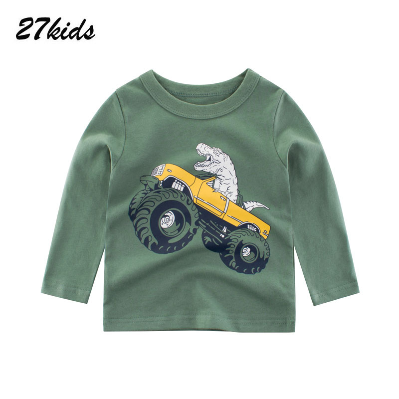 27kids Boys Long Sleeve Clothes T-shirts Kids Cotton Dinosaur Tops T-shirts Boys Cartoon Clothes Tshirts For 2-9 Years