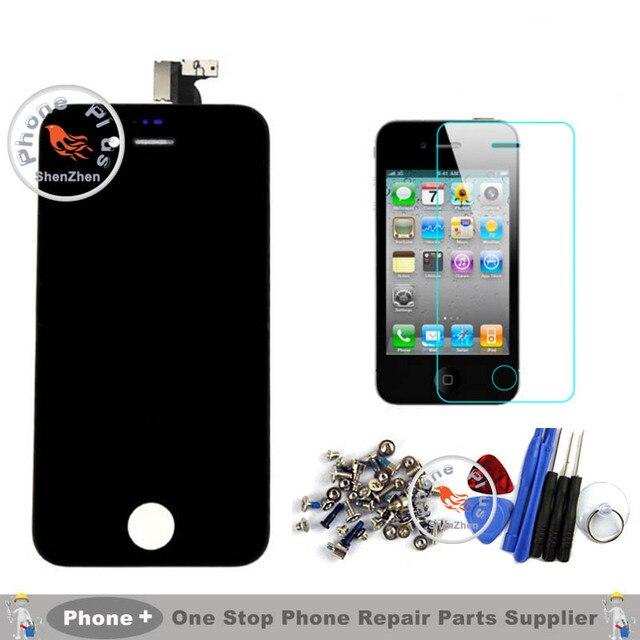 + + + Качество Для Apple Iphone 4s 4 4G 5 5 Г 5S 5C 6 ЖК-Дисплей С Сенсорным Экраном Дигитайзер Ассамблеи + Закаленное Стекло + Инструменты + Полный винты