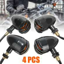 4pcs 12V Black Motorcycle LED Turn Signal Lamp Amber Indicator Lights Bulb For Honda Suzuki Kawasaki