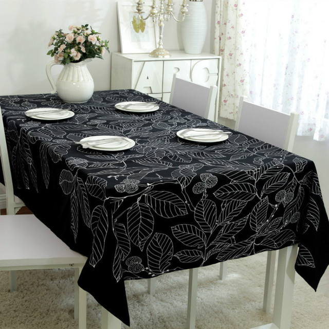 #a Leaves Printing Cotton Canvas Blue Navy Blue Tablecloth Table Cloth  Beautiful Personality Fashion