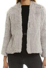 SF0016 Australian Fashion Hot Sell Women Rabbit Fur Coat Knitted Rabbit Fur jackets