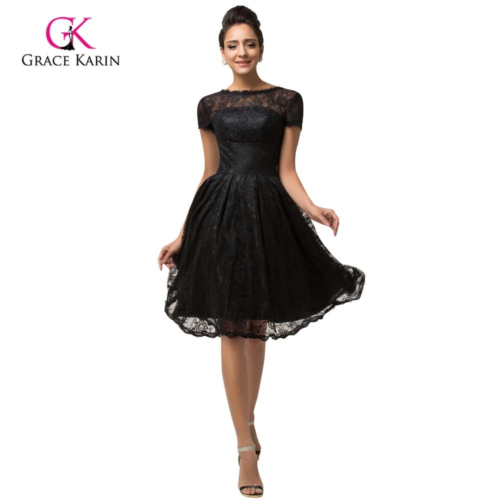 Aliexpress.com : Buy Short Sleeve Black Lace Cocktail Dresses ...