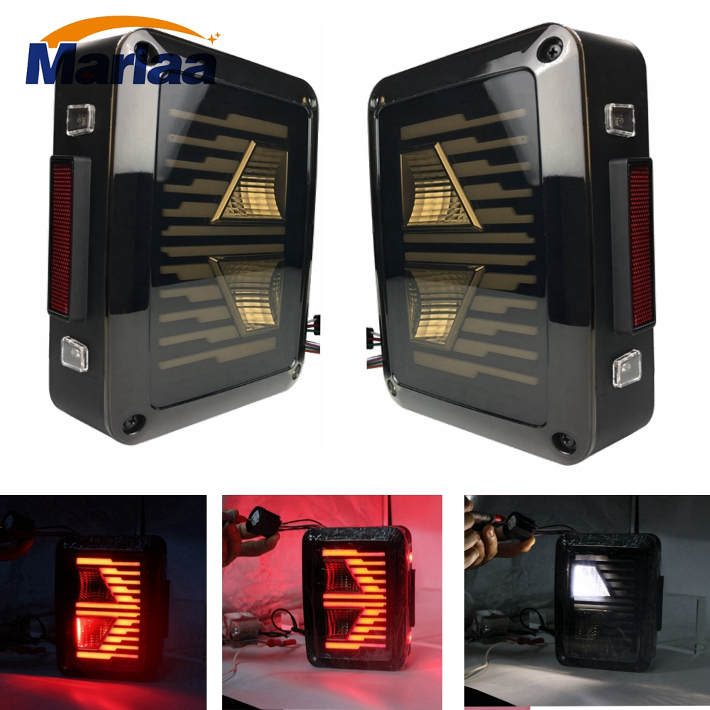 Marlaa Newest For 07-16 Jeep Wrangler JK US / European version LED Tail Lights Brake Turn Signal Reverse Lamp Rear Lights 4pcs black led front fender flares turn signal light car led side marker lamp for jeep wrangler jk 2007 2015 amber accessories