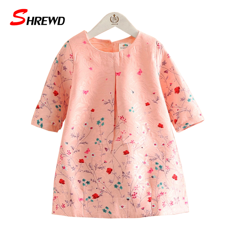 Kids Party Dress For Girls 2017 Autumn Fashion Printing Baby Girl Dress Floral Three Quarter Sleeve Cute Children Clothes 4148Z