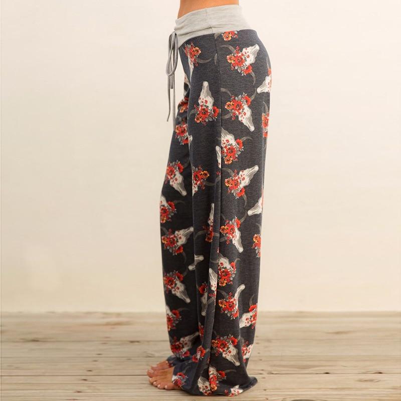 Autumn Dark Gray Print Floral Pants Sleep Bottoms Women Lace Up Waist Drawstring Wide Legs Loose Plus Size Pajama Pants B86794 1