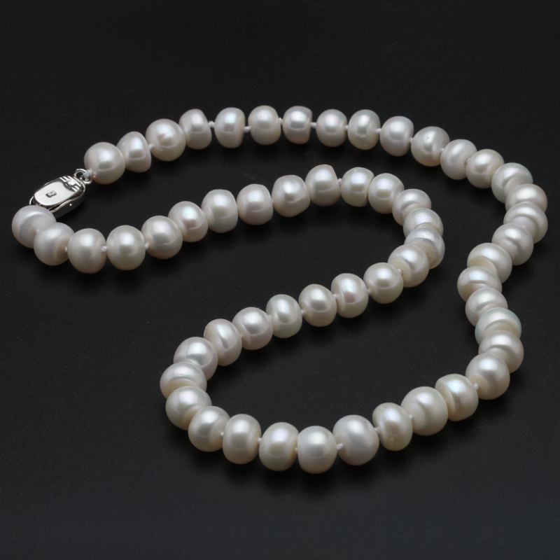 Genuine Freshwater Pearl Necklace Women,Wedding Bead Necklaces Fine Jewelry Girls 925 Silver Accesorry Anniversary Wife in Box