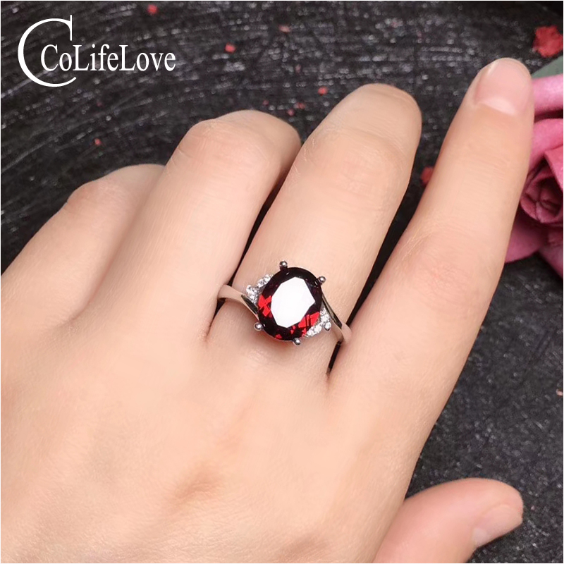 CoLife Jewelry Garnet Ring For Engagement 8mm*10mm Natural Wine Red Garnet Silver Ring 925 Silver Garnet Ring Gift For Woman