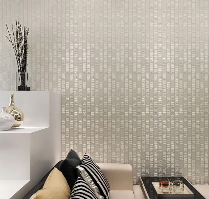 Modern cream white textured non woven wallpaper for for Cheap white wallpaper