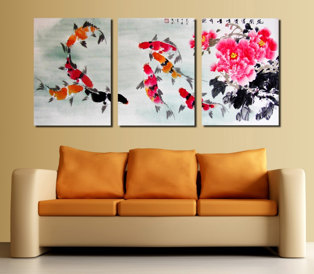 3 pieces koi fish wall art modern paintings flowers wall for Home decoration pieces