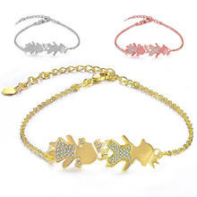 JUYA Sweet cute family boy and girl adjustable pull-out bracelet Roman print string couple long Pulseira