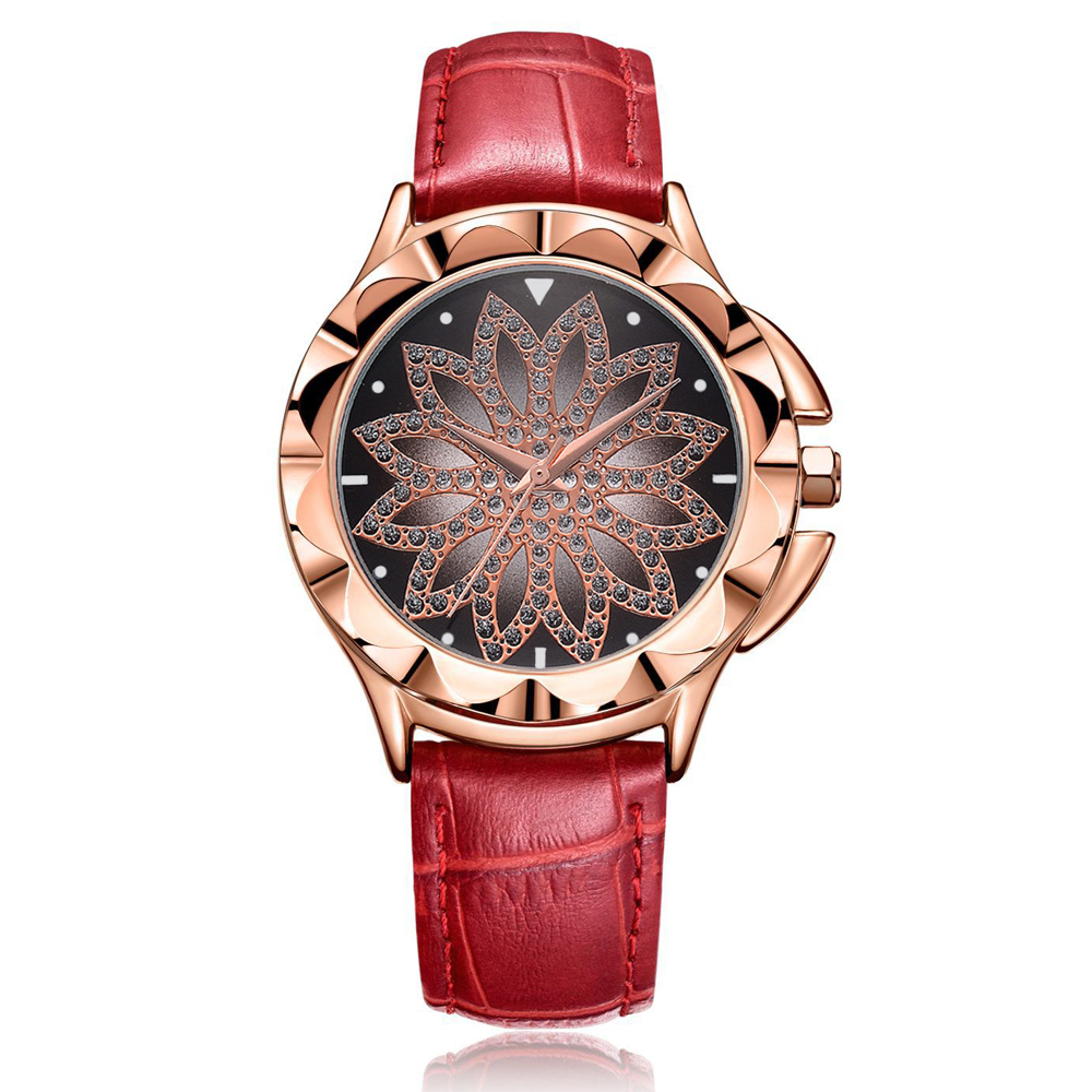 Fashion Leather Watches Women Luxury Brand Rose Gold Dress Quartz Wristwatch for Women Crystal Female Clock Bracelet Reloj Mujer