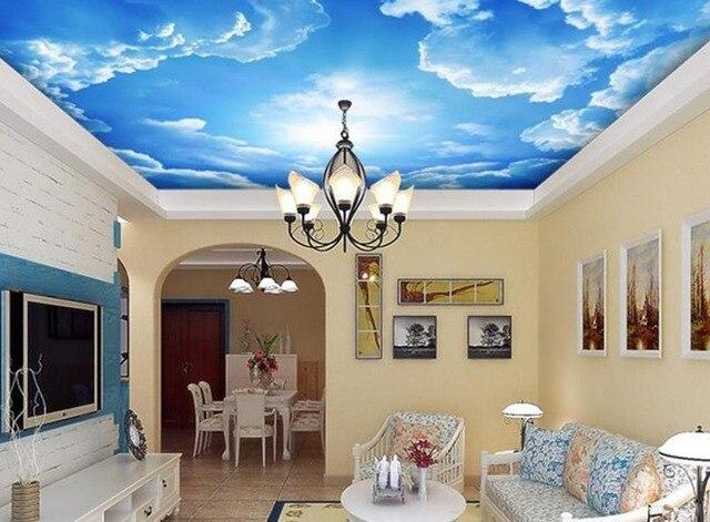 Bleu ciel et nuage plafond salon chambre personnalisé 3d mural papier peint de style européen décoration