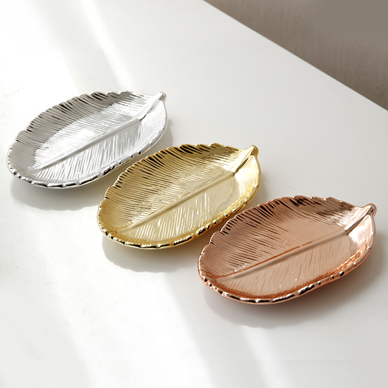 Gloden Ceramic Leaves Plate Tree Leaf Jewelry Snacks Dessert Silver Storage Tray Rose Gold Ceramics Jewelry Enamel Trinket Dish