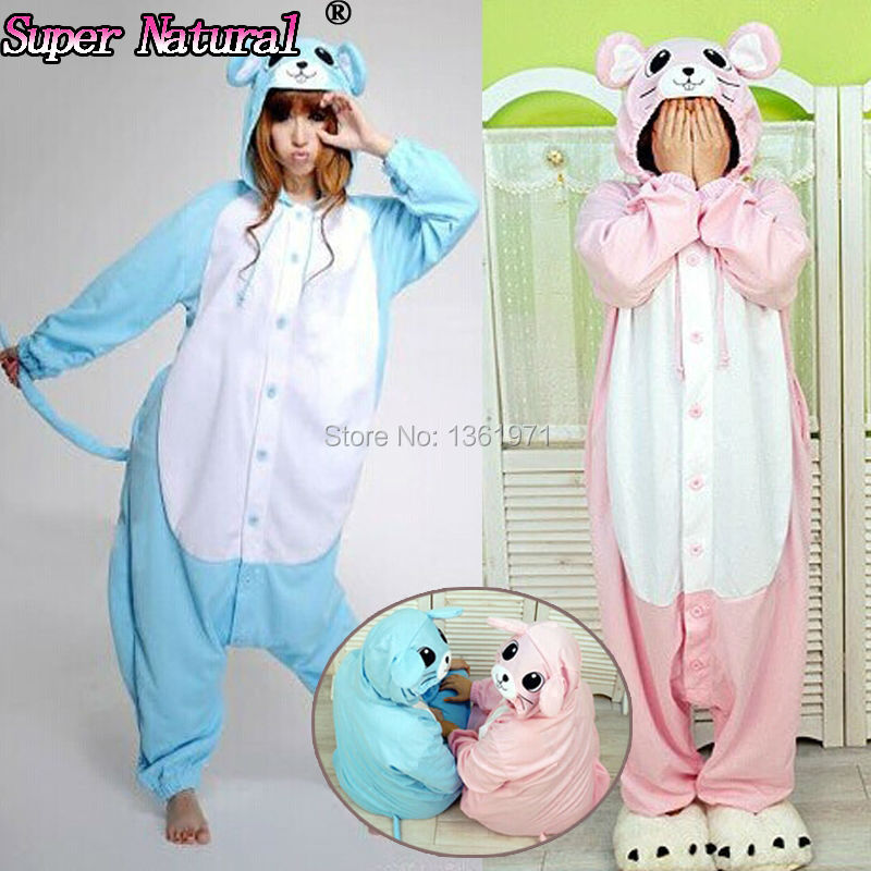 HKSNG Pink Blue Mouse Footed Girls Pajamas Animal Winter Women Men Onesies Adults Kigurumi Cosplay Costumes