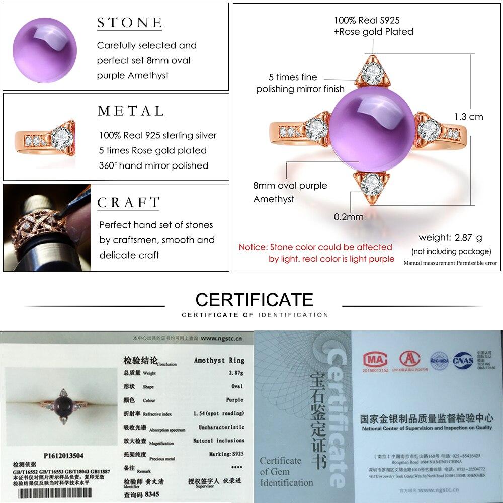 LAMOON 2.1ct Luxus Sterne Ringe für Frauen Natürliche Lila Amethyst - Edlen Schmuck - Foto 6