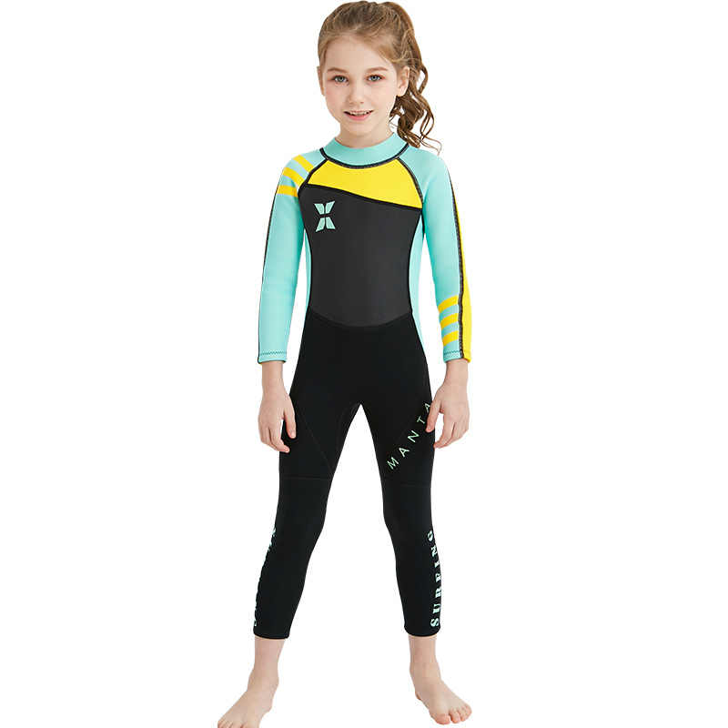NATYFLY Neoprene Wetsuits for Kids Boys Girls Back Zipper One Piece Swimsuit UV Protection-Brand A1707