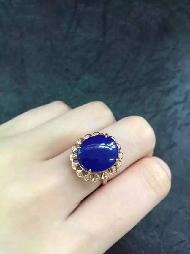 Natural blue lapis lazuli gem Ring Natural gemstone ring 925 sterling silver fashion big round Sunflower women party Jewelry