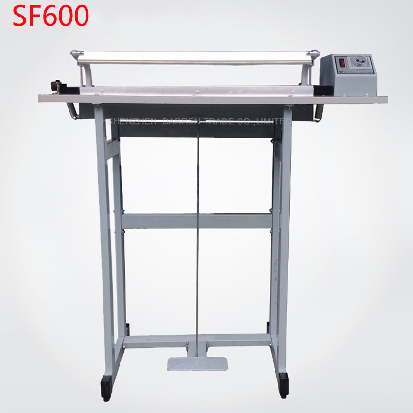 1PC  Pedal sealing machine for plastic bag with the cutting function SF600, Pedal Impulse Plastic bage Sealer pfs 200 impulse quick rapid plastic pvc bag sealing machine sealer for food medical packaging packing manufacturing industry