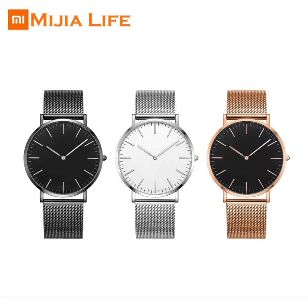 En Stock Xiaomi Mijia vingt dix sept lumière ultra mince montre à quartz (modèles de couple) 5.5mm mince corps Original importé mouvement-in Accessoires connectés from Electronique    1