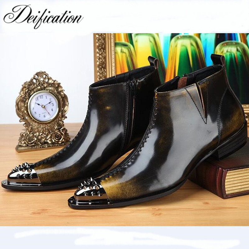Deification Retro Gradient Color Business Formal Man Ankle Boots Rivet Pointed Toe Punk Rock Shoes Men Motorcycle Cowboy Boots