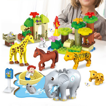 51pcs Animal Series Model Figures Big Building Blocks Compatible Sermoido Duploed Animals Educational Toys For Children Gift цены