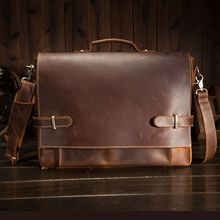 First layer leather mens handbags retro crazy horse briefcases casual bags British foreign trade men 9090