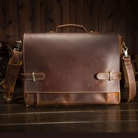 First layer leather men's handbags retro crazy horse leather briefcases casual bags British foreign trade leather men 9090
