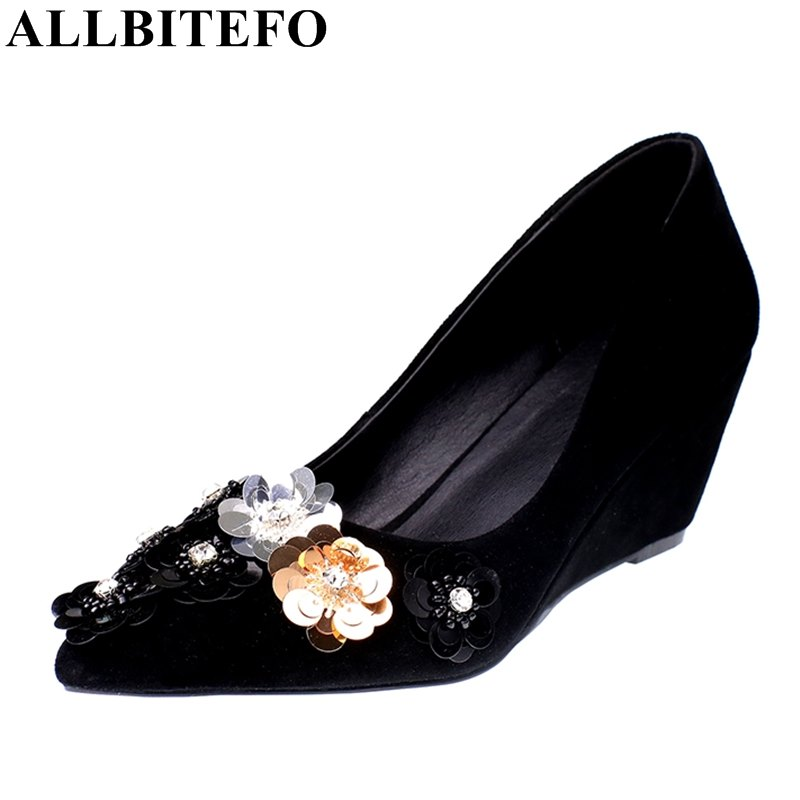 ALLBITEFO full genuine leather pointed toe wedges heel women pumps fashion flowers high heels high heel shoes spring pumps allbitefo fashion sexy thin heels pointed toe women pumps full genuine leather platform office ladies shoes high heel shoes
