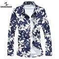 SHANBAO Bronceado de moda de impresión de Manga Larga de Los Hombres Camisa Casual de Negocios camisa Azul de la Alta Calidad Masculina Camisa más del Tamaño 5XL 6XL 7XL