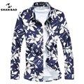 SHANBAO Homens moda Bronzing impressão Ocasional Camisa do Negócio de Manga Longa camisa Azul de Alta Qualidade Masculino Camisa plus size 5XL 6XL 7XL