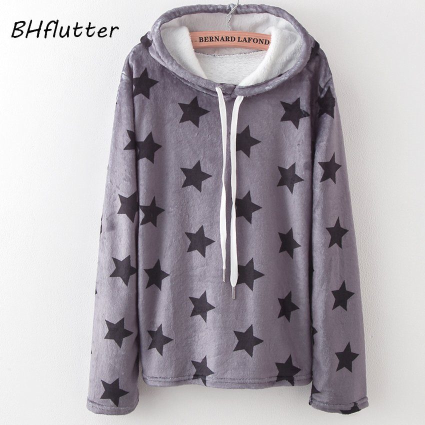 BHflutter Women Hoodies 2018 Fashion Autumn Winter Pullover Long Sleeve Hooded Sweatshirts Female Stars Print Casual Jumper Tops