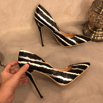 Free shipping fashion women Designer Brand New black silver stripe  point toe high heels pumps shoes Stiletto 12cm 10cm 8cm
